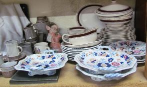 Assorted records together with Myott & Son plates, a stoneware decorated part dessert set,