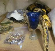 Venetian masks together with assorted cufflinks etc
