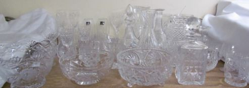A large collection of crystal including glasses, vases,