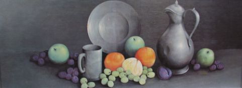 After Reekie Still life study of pewter and fruit A print Together with three other prints