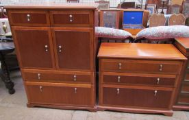 A reproduction mahogany chest with three graduated drawers together with a Meredew side cabinet