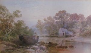 19th century British School Mill on a river Watercolour Initialled and dated '79