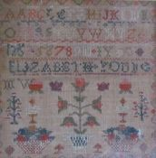 A 19th century sampler together with decorative pictures