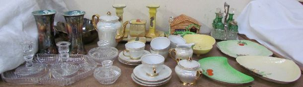 A Royal Doulton series ware part dressing table set together with Carltonware dishes,