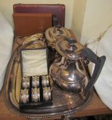 A set of six silver napkin rings, together with a cased fruit set, epns tray, four piece tea set,
