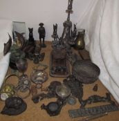 Bronze dolphins together with other bronze and metal items including an epergne,