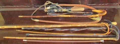 A collection of walking sticks and a whip