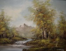 L Markem A river scene Oil on canvas Signed Together with a collection paintings and prints