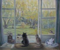 Tessa Pickering Study of cats Oil on board Signed Together with a collection of paintings by the