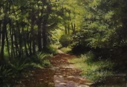 Pauline Harries A forest path Watercolour Signed Together with two Diana Armfield prints of a vase