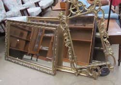A gilt framed wall mirror together with two other gilt framed wall mirrors