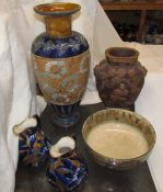 A Royal Doulton Slaters pattern vase, together with a Royal Doulton bowl,