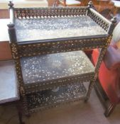 An Anglo Indian mother of pearl inlaid three tier side cabinet,