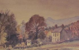 Michael W King Landscape scene Watercolour Signed Together with a watercolour of a lady and child