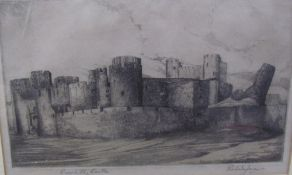 After Graham Jones Caerphilly Castle An etching Together with a mirror and other prints