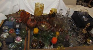 A crystal table centrepiece together with assorted glasswares including decanters, babycham glasses,