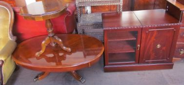A reproduction mahogany coffee table together with a reproduction inlaid occasional table and a