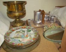 Chinese porcelain plates together with a floral decorated easel mirror, brass urn,