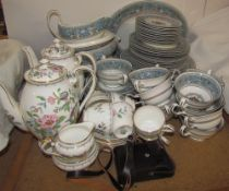 A Wedgwood Florentine pattern part dinner set together with an Aynsley part coffee set and compass