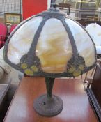 A Tiffany style table lamp with smoked glass panels,