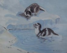 H J Strudwick Otters Oil on board Together with assorted prints etc