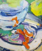 Pam Berry Orange peel and pear Oil on board Together with an oil painting by Rhongaston of a garden