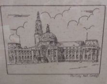 An embroidery of The City Hall Cardiff,