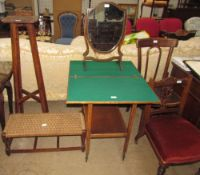 A 20th century card table tea trolley together with a 19th century shield shaped toilet mirror,