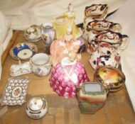 A collection of Masons jugs together with Royal Doulton figures etc