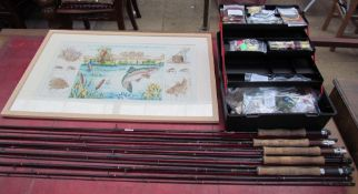 A carbomesh Banker Fly rod together with other Fly Fishing rods, fly tying equipment,