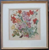 Valente Garden flowers and insects Oil on cloth Signed 43 x 44cm