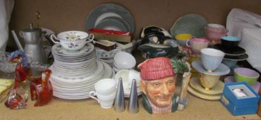 A Wedgwood Greenwood pattern part dinner set, together with assorted Royal Doulton character jugs,