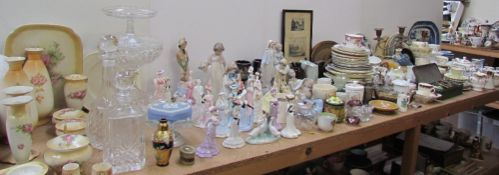 A Collection of Coalport ladies together with Nao figures, Wedgwood part tea sets, decanters,