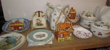Royal Worcester tureens and covers together with a cottage ware part tea set, pottery jugs,