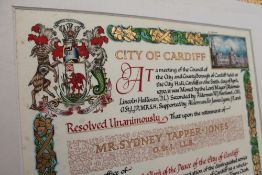 A City of Cardiff illuminated manuscript Presented to Mr Sydney Tapper-Jones O.St.J. LLB.
