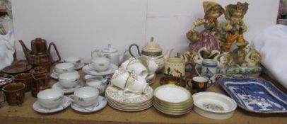 A Royal Doulton Lichfield pattern part tea set together with a Japanese part tea set,
