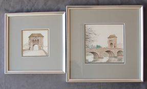 Neil Hopkins Monnow Bridge Watercolour Signed and dated 1981 13.5 x 13.