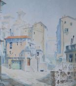Herbert W Wright Ruelles Convergentes Watercolour Signed 55.5 x 48.