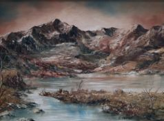 Gwyneth Tomos Llyn Ogwen Oil on canvas Signed 28.