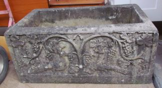 A reconstituted stone planter