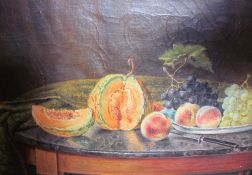 An oil painting of a still life study of fruit together with a David Shepherd print and a Brussels