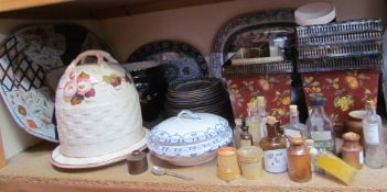 A pottery beehive cheese dish and cover together with meat plates, part dinner set,