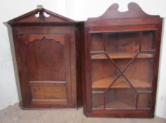 A 19th century oak hanging corner cupboard together with a mahogany glazed example