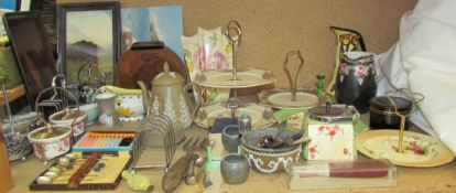 A Midwinter preserve pot and cover together with a sandwich plate, other sandwich plates, vases,