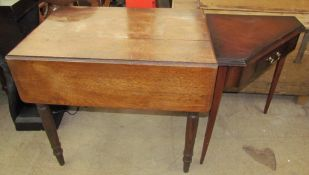 A Victorian oak Pembroke table with drop flaps on ring turned legs together with a mahogany corner