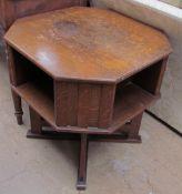 An oak coffee table bookcase