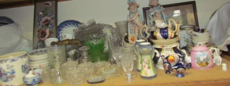 A Gaudy Welsh part tea set together with pottery figures, glass bowls,