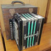 A concertina squeeze box of rectangular form,