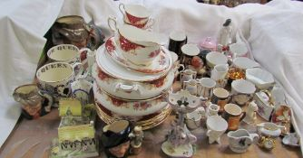 A Paragon Rockingham pattern part tea and dinner set together with crested wares, moustache cups,