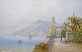 Edwin St John Italian Lake Scene Watercolour Signed